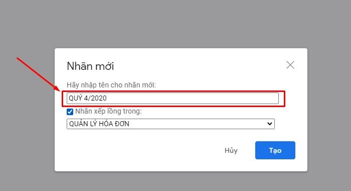 quản lý hóa đơn bằng gmail