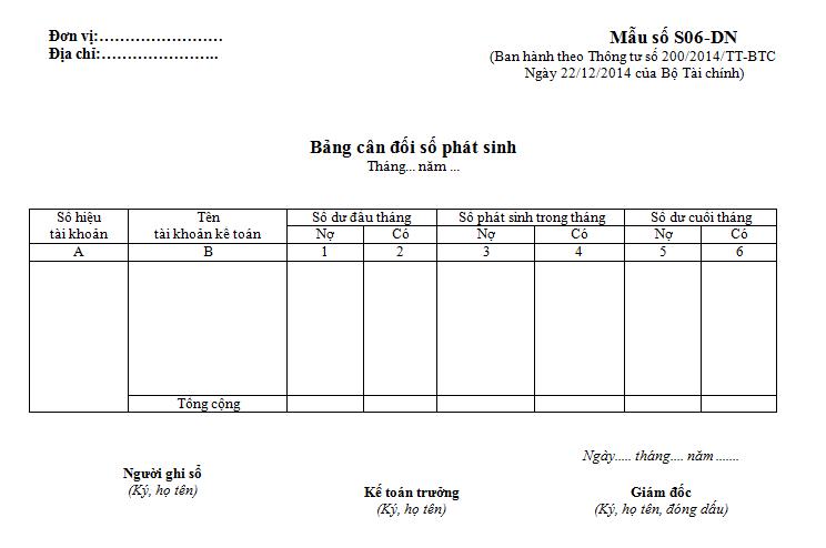 Mẫu bảng cân đối số phát sinh